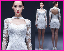 Real Sexy Informal Short Sheath Lace Open Back Bridal Wedding Dress With Long Sleeves W2690