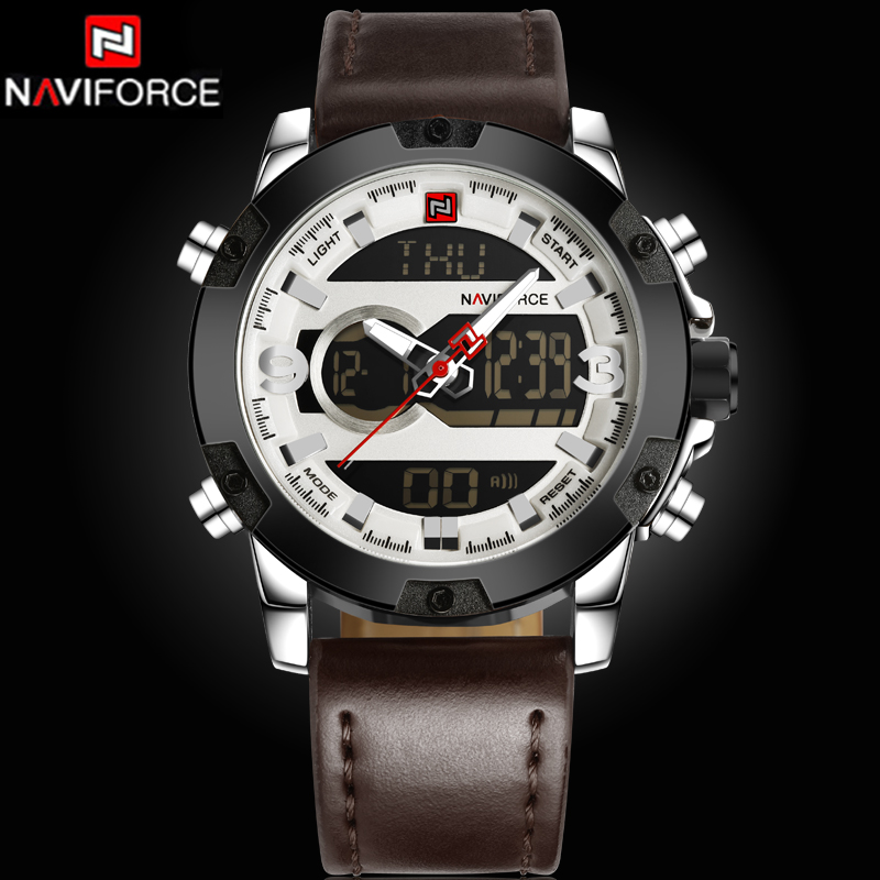 2017 New Luxury Brand NAVIFORCE Watches Men Leather Quartz Digital Watch Man Fashion Military Casual Sports Wrist watch Relogio naviforce new genuine leather watch men