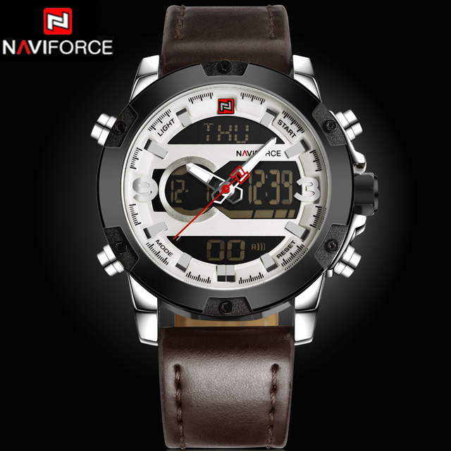 2017 New Luxury Brand NAVIFORCE Watches Men Leather Quartz Digital Watch Man Fashion Military Casual Sports Wrist watch Relogio
