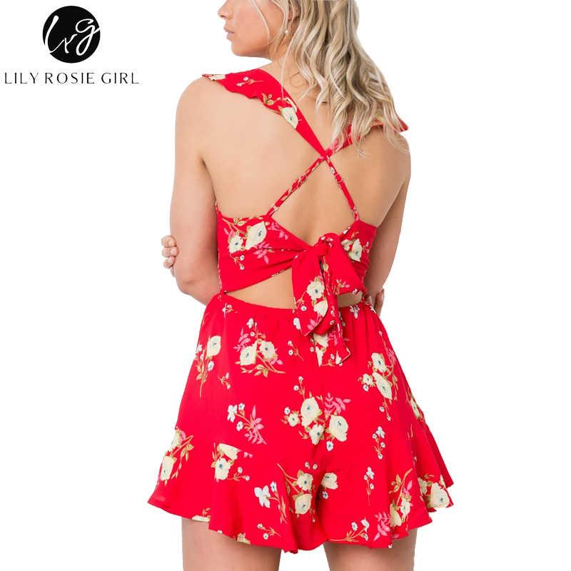 Lily Rosie chica encaje sin respaldo rojo Floral impresión volantes Mujer mujer verano monos largos de playa Sexy cuello en V mamelucos overoles