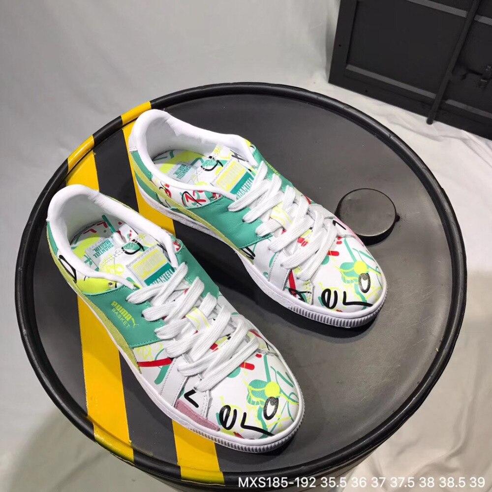 e4d9ce8cd901 Original 2018 new Puma women s leather graffiti sneakers Badminton Shoes  Size 36-39
