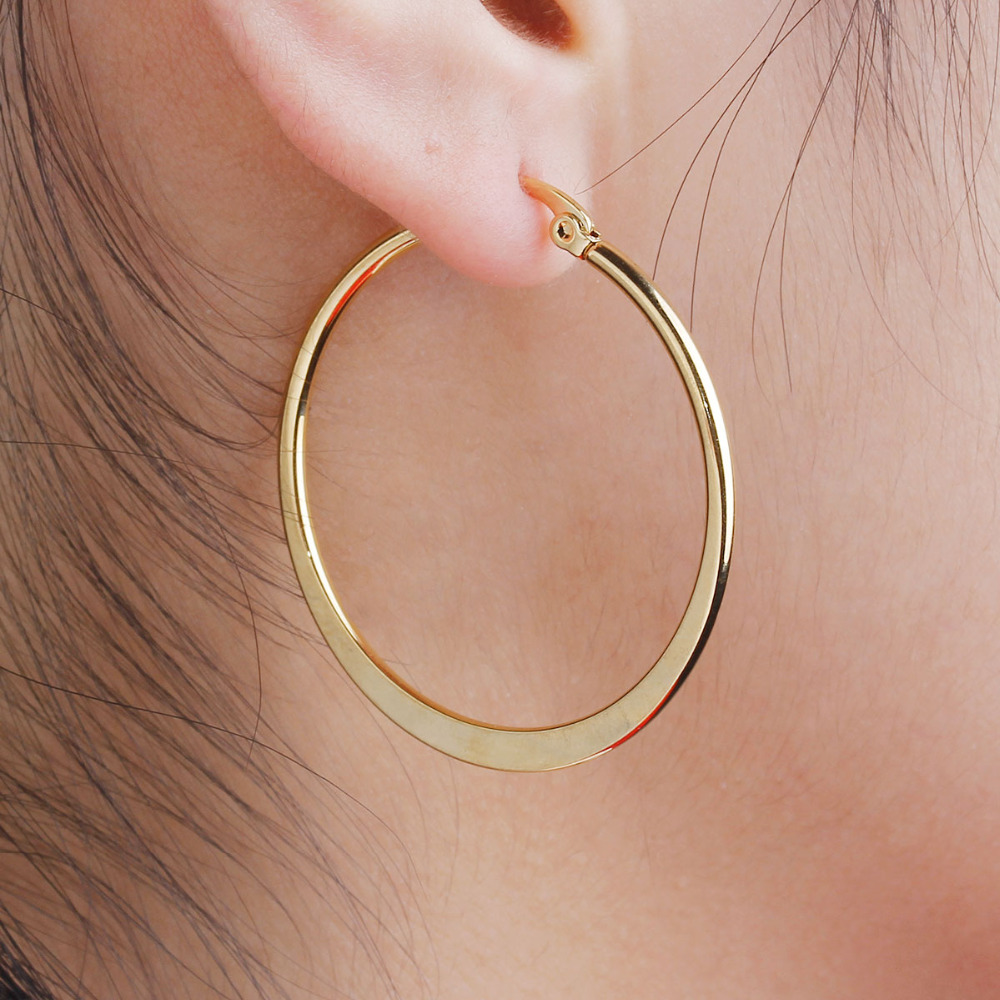 8 MUSIM 304 Stainless Steel Wanita Hoop Earrings Gadis Mode Anting Warna Emas Putaran Sederhana 2018 Hot Sale 41mm x 39mm, 1 Pair