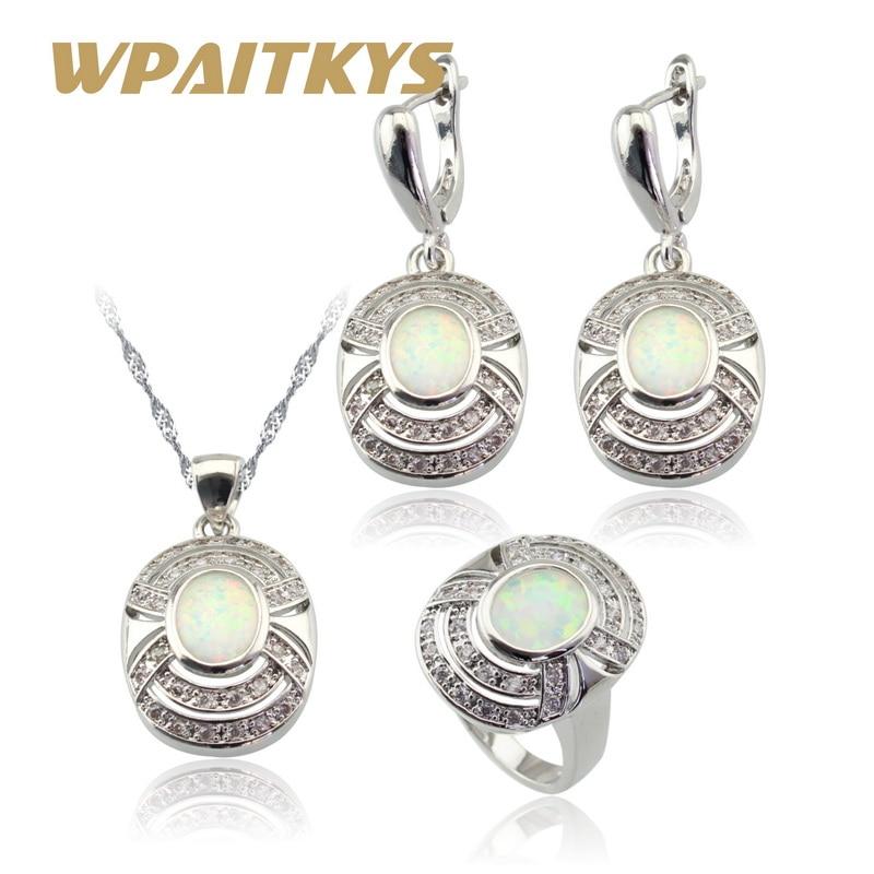 Australija Vatro bijela opal srebrna boja nakit setovi za žene - Modni nakit - Foto 1