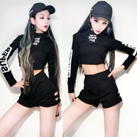 Jazz Dance Costumes Rave Clothes Hip Hop Nightclub Ds Dj Stage Clothes For Singers Sexy Black Long Sleeve Short Tops Gogo DN1269