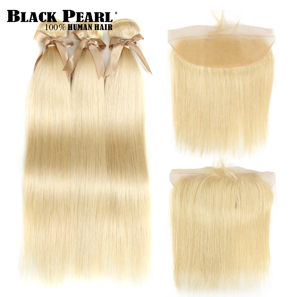 Black Pearl 613 Bundles With Frontal Peruvian Straight Hair Weave  Remy Human Hair Blonde Bundles With Frontal 100g