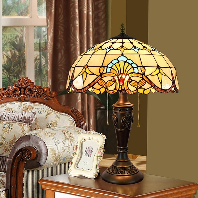 Eusolis 16 zoll Mosaik Vintage Tisch Lampstained Glas Abajur Para Quarto Lamparas De Mesilla De Noche Türkische Lampen Luces led LED-Tischleuchten Licht & Beleuchtung -