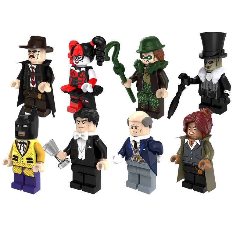 Super Heroes Mini Brick Penguin Harley Quinn Alfred Joker Figures Bruce Wayne Batman Movie Single Sale Diy Toys For Children single sale pirate suit batman bruce wayne classic tv batcave super heroes minifigures model building blocks kids toys gifts
