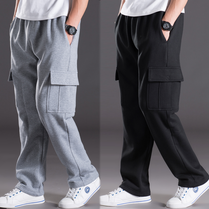 Autumn and Winter Male Casual Multi-pocket Pants Loose and Plus Size Trousers Plus Velvet Warm Pants Straight Long Trousers afs jeep winter men s long trousers mens straight jeans casual loose waistline autumn long trouser man male botton plus size 42