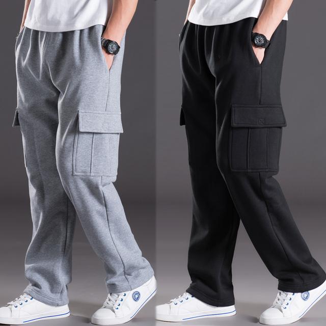 Otoño e Invierno Masculinos Pantalones multibolsillos Casuales Suelta y Pantalones de Talla grande, Además de Terciopelo Cálido Pantalones Largos Rectos pantalones