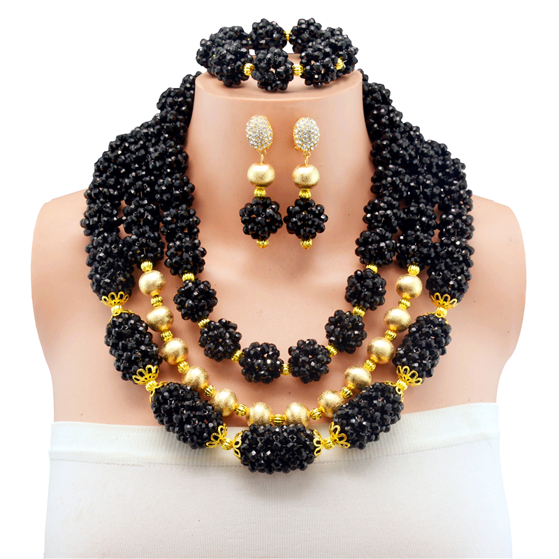 Bridal Jewelry Sets Black Nigerian Wedding African Beads Jewelry Set Crystal Women New Necklace Set Free ShippingBridal Jewelry Sets Black Nigerian Wedding African Beads Jewelry Set Crystal Women New Necklace Set Free Shipping