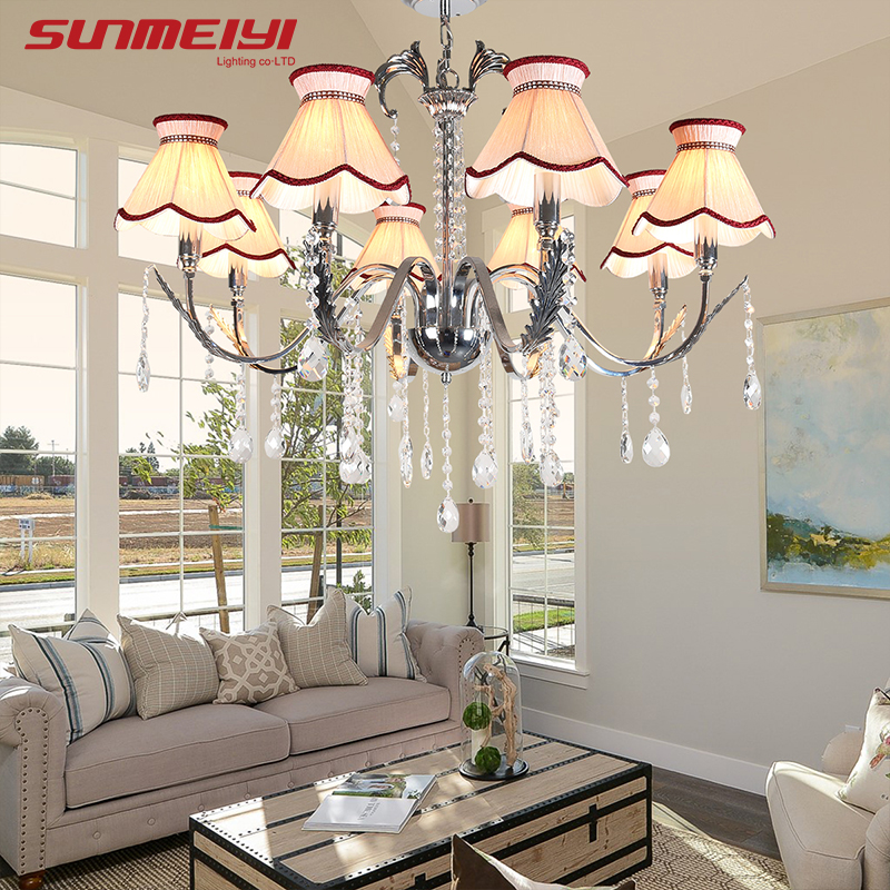 Modern LED Crystal Chandeliers With Lampshade For Living Room Suspendsion Lighting candiles de cristal modernos colgantes