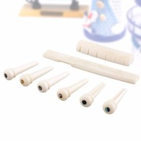 New 1 Set 6 String Music Guitar Bone Material Bridge Pins Saddle Nut High Quality Acoustic