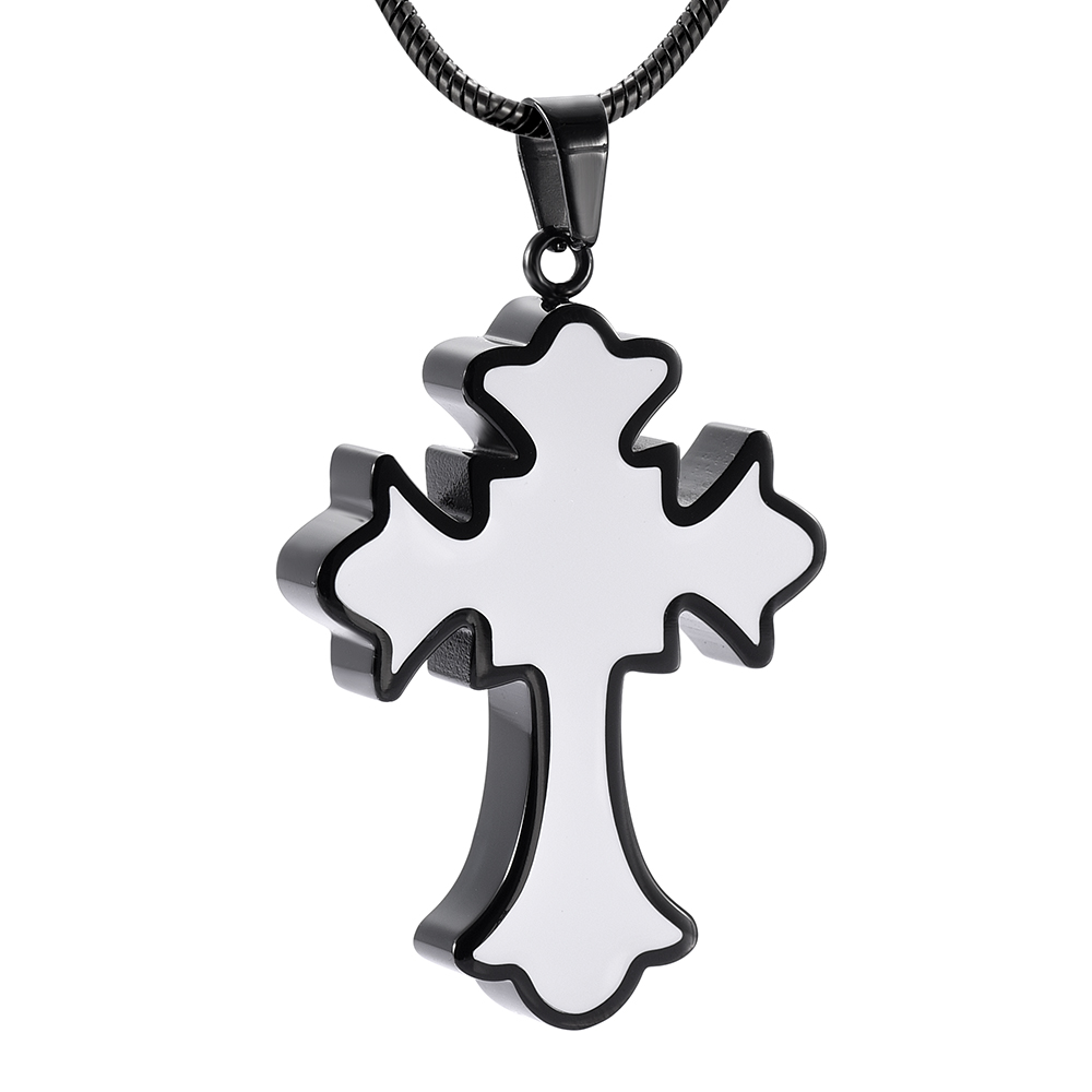 Silver Cross Heart Cremation Memorial Pendant Ashes keepsake Urn Casket