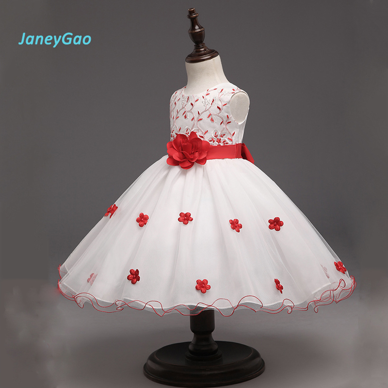 JaneyGao 2019 Summer   Flower     Girl     Dresses   Red In Stock Baby Formal Wear Pageant   Dresses   With Appliques Kids Evening Gowns On Sale
