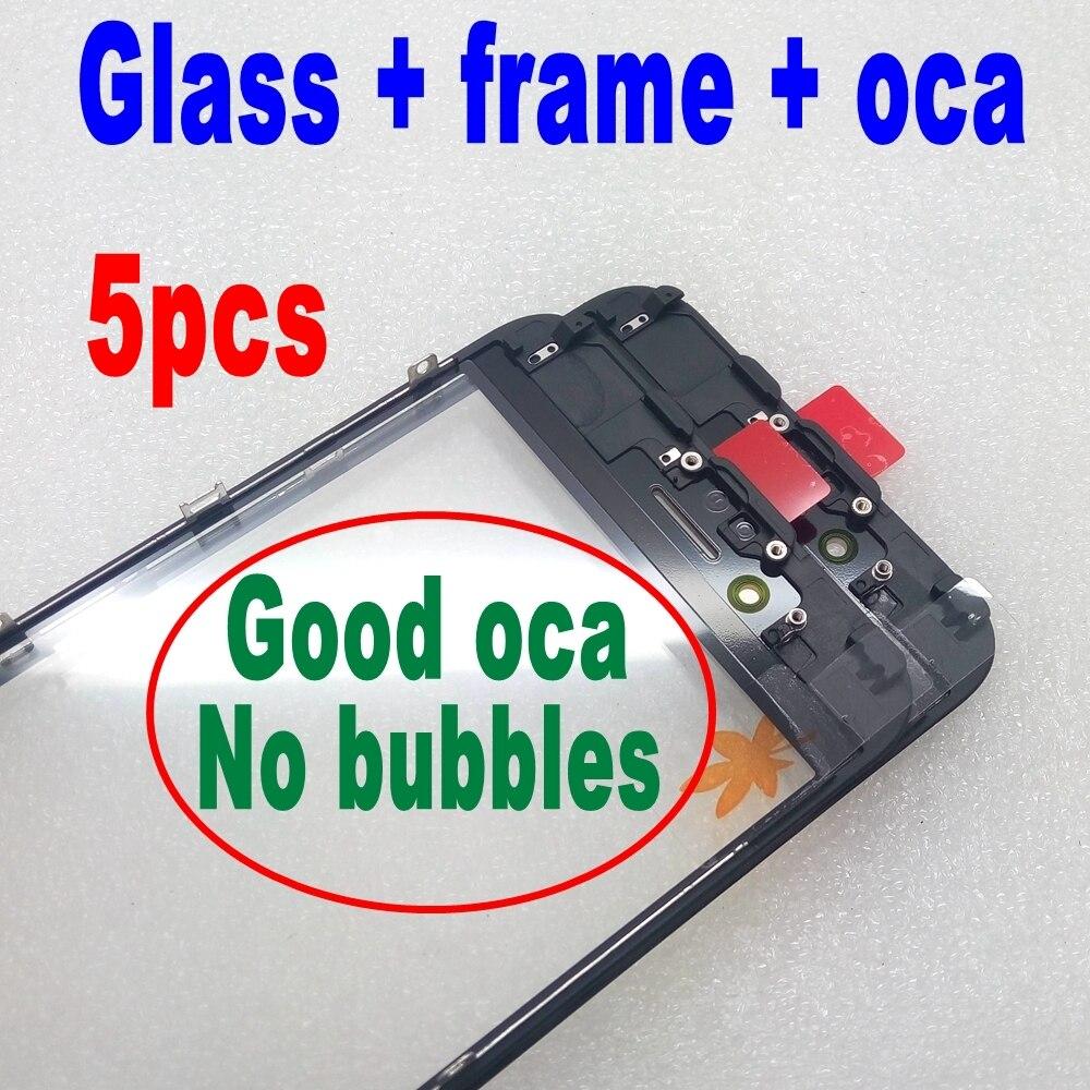 imágenes para 5 unids negro/blanco frente de vidrio + frame + oca para el iphone 6 6 s plus exterior vidrio con el Marco Del Bisel con oca lcd de reparación de parte de la mejor calidad