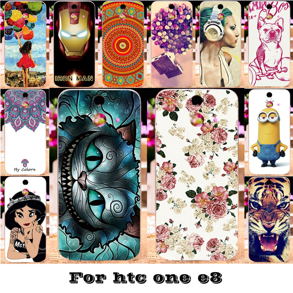 AKABEILA Painted Phone Skin Cases For HTC One E8 One M8SD Ace Dual Sim M8SW M8ST Covers Anti-Scratch Bags 18 Styles Plastic