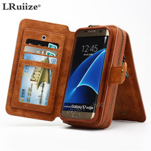 LRuiize Retro Multifunction Wallet Leather Cell Phone Case Cover Protector Bumper Case Pouch For Samsung Galaxy S8/Plus Note5 4