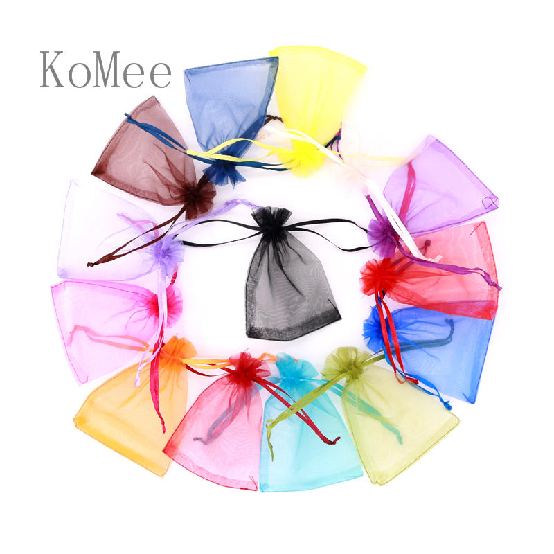 10pcs/lot 7x9 9x12 13x18cm Small Organza Bags Jewelry Candy Gift Packaging Wedding Party Favor Drawstring Bag Pouches