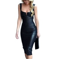 NEW latex sheath dress designer Sexy Women Leather V-Neck Mini Pencil Dress Leather Tank Slit Skinny Dresses Party Club Dresses