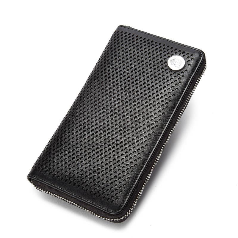UIYI Brand Men Genuine Leather Zipper Long font b Wallets b font Bifold Casual First Layer