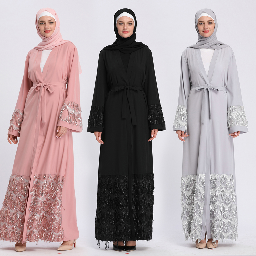 51b893570ee Muslim Abaya Chic Maxi Dress Nida Cardigan Long Robe Gowns Jubah Kimono  Ramadan Sequins Mesh Arab