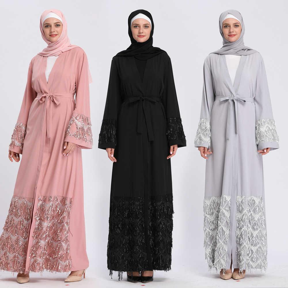 Muslim Abaya Chic Maxi Dress Nida Cardigan Long Robe Gowns Jubah