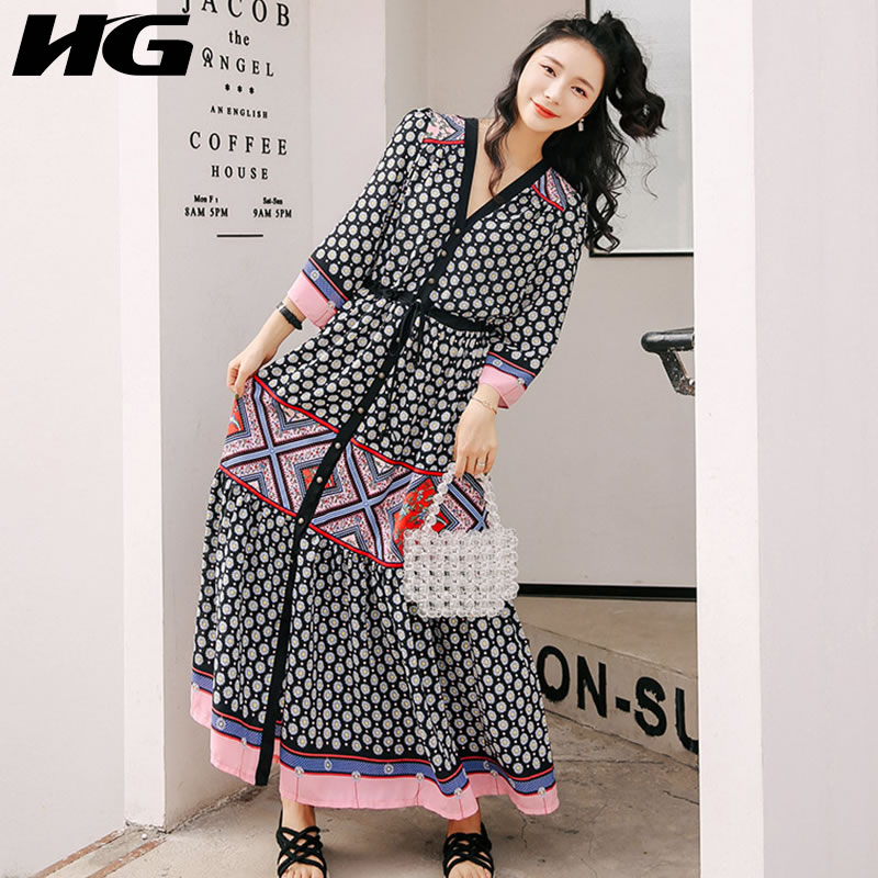 HG Geometric Dot Print Vintage Dress Plus Size Dress Women V Neck Long Sleeve Dress Chiffon Slim Was Thin Beach Holiday ZYQ1281