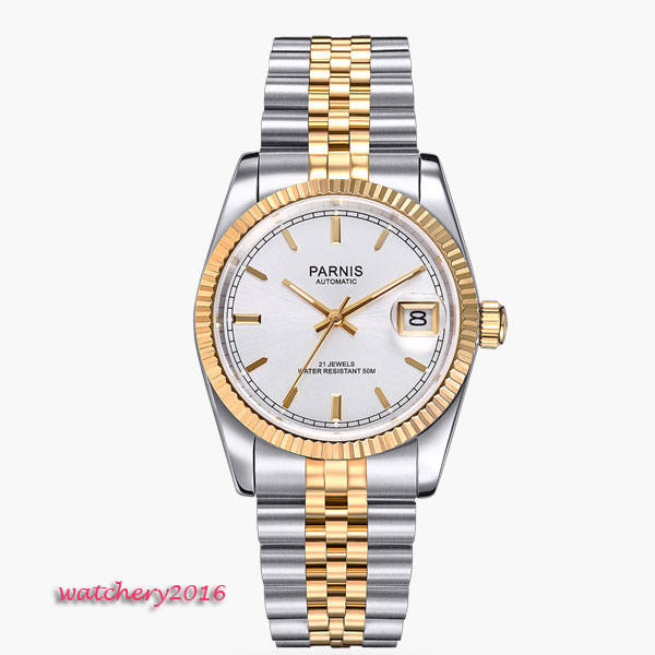 36mm parnis White Dial Luminous Marks date window Deployment sapphire glass 21 jewels MIYOTA Automatic movement women's watch romantic sweet gifts 43mm parnis white dial luminous marks sapphire crystal 21 jewels miyota automatic mechanical men s watch