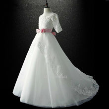 comunion New Boat Neck Lace 1/2 Sleeve a Line white flower girl dresses real photo girls gowns floor length Formal Occasion(China)