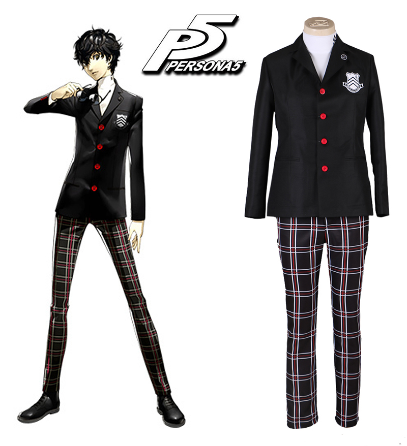 Game Persona 5 Protagonist Akira Kurusu School Uniform Men Suits Halloween Party Blazer Outfit Full Set