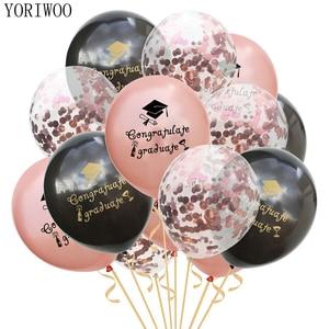 YORIWOO Latex Balloon Confetti Graduation 2019 Congratulations Graduation Party Decoration Birthday Balloons Air Wedding Favors(China)
