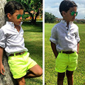 children clothing boy leisure set white shirt+ yellow shorts 2 pcs summer clothes for baby XMZ045