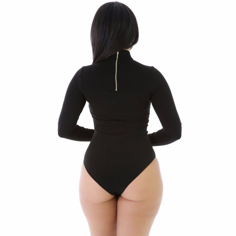 Black-Stretchy-Turtleneck-Long-Sleeve-Bodysuit-LC32081-2-2