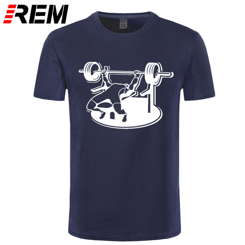REM New Brand Mens T-Shirts Summer 100% Cotton Short Sleeve T Shirts Bodybuilding Bench Press Barbell T Shirt Plus Size