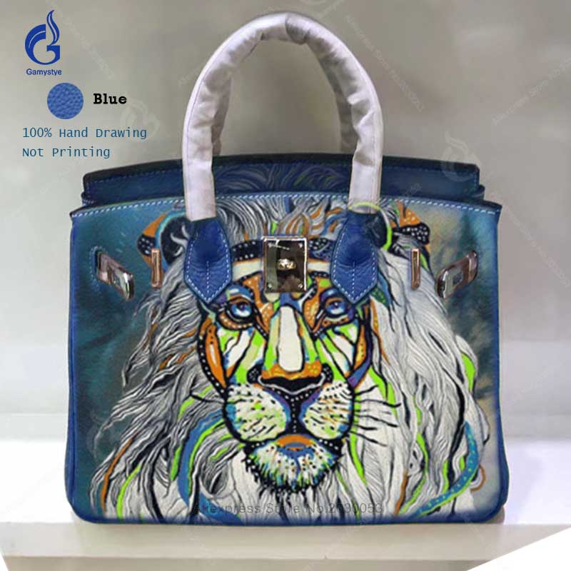 Fashion Designer Bags for Women 2018 Cow Leather Crossbody Shoulder Bag Hand Painted Art Lion Casual Tote Larger Ladies Handbags