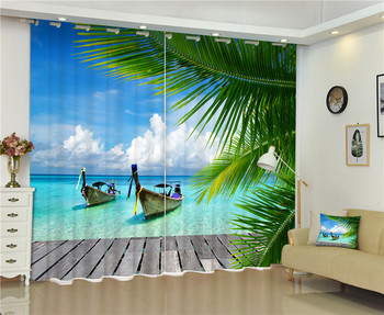 Blue ocean photos Blackout Window Drapes Luxury 3D Curtains For Living room Bed room Office Hotel Home Wall Tapestry