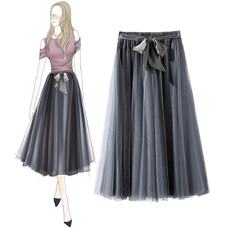 SexeMara New Women's Runaway Skirt Pleated Mesh & velvet midi skirt Elegant solid Color Black & Grey Elastic Waist jupe femme black mesh fluffy midi skater skirt
