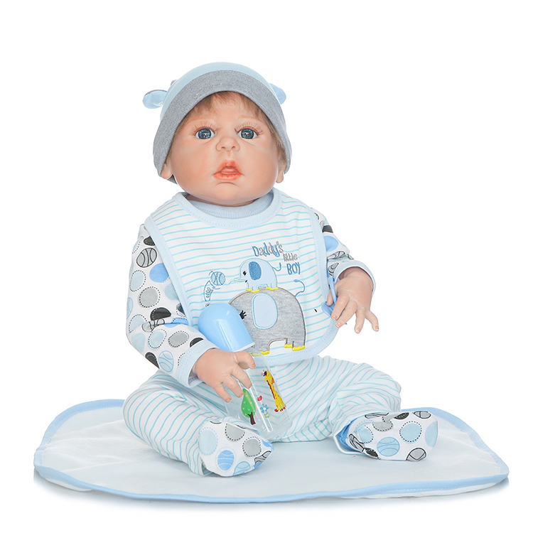 Buy 22 Inch  boy dolls reborn babies Full Body Silicone Reborn Baby Handrooted Mohair Realistic baby Dolls bebe bonecas reborn