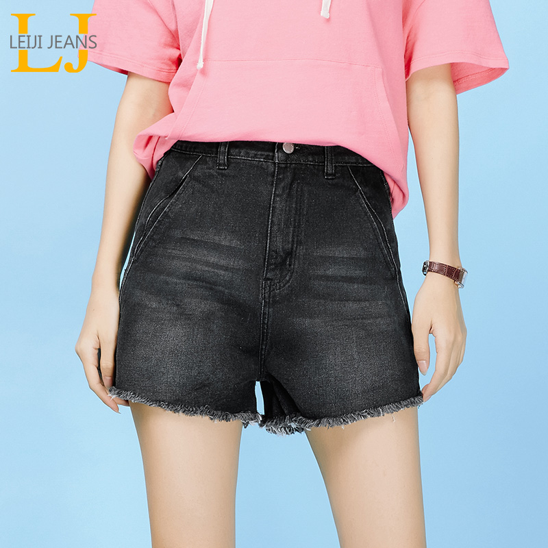 LEIJIJEANS Summer new style pocket denim   shorts   flow must black denim   shorts   plus size female student denim   shorts   9084