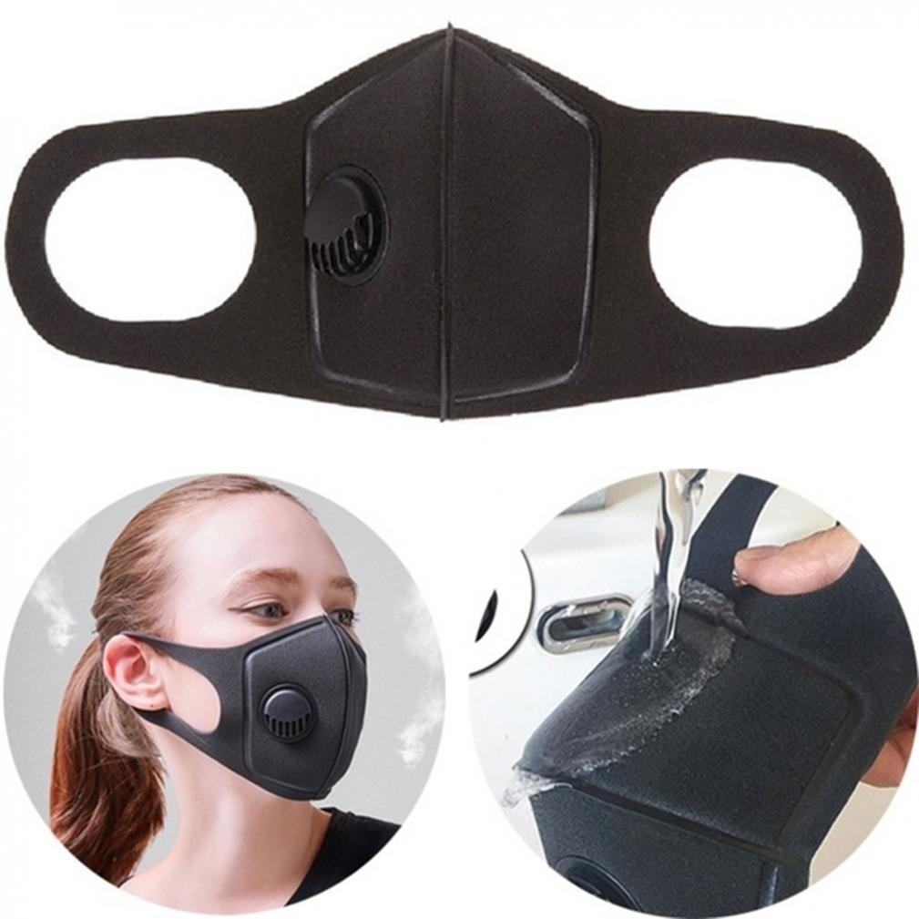 1 PC Women And Man Black Sponge Dust  Pollution Prevention Outdoor Black Mask