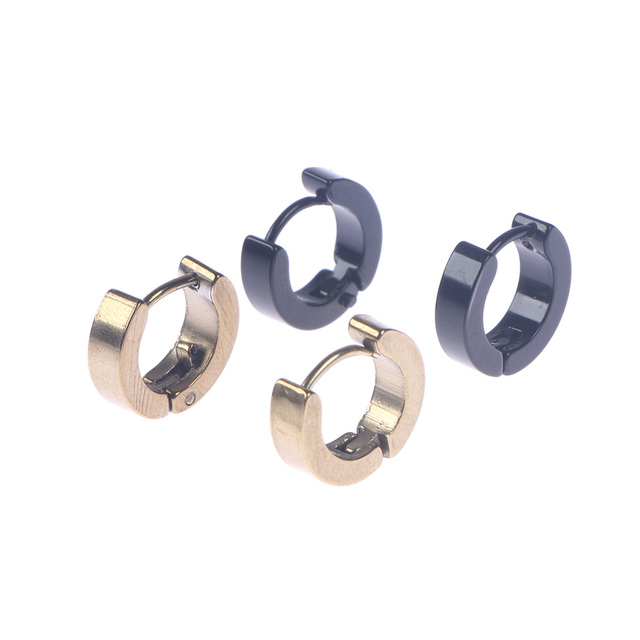 1pair Unisex Small Hoop Earrings Silver Gold Stainless Steel Hoop