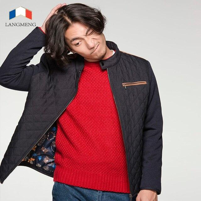 Langmeng 2015 marca chaqueta de invierno parka hombres outwear abrigos masculinos de los hombres chaqueta caliente con estilo que empalma casual chaquetas con cremallera