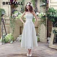 2018 Simple Lace Wedding Dresses In Stock A Line Ankle Length Sweetheart Bridal Gowns Lace Up
