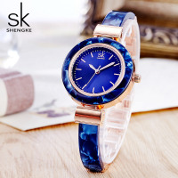 Shengke SK Brand Fashion Women Dress Watches Bangles Wristwatch Unique Design Women Charming Chain Style Watch