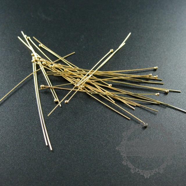 24 Gauge 0.5X50.8 Mm Gold Filled Hoge Kwaliteit Kleur Niet Aangetast Ball Headpin Diy Kralen Sieraden Benodigdheden Bevindingen 1515012