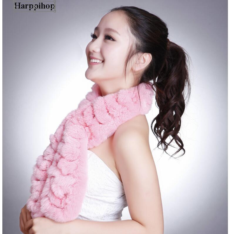 HARPPIHOP FUR 2018 Autumn Lady Genuine Rex Rabbit Fur   Scarves     Wraps   Winter Women Fur Accessory Rings Females Neckerchief