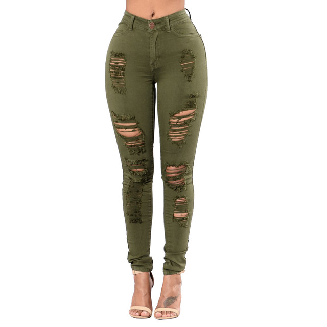 0c952df9b40181 Army Green Distressed Jeans For Women High Waisted Knee Ripped Jeans Juniors  Curvy Skinny Red Jeans Women Push Up Denim Trousers