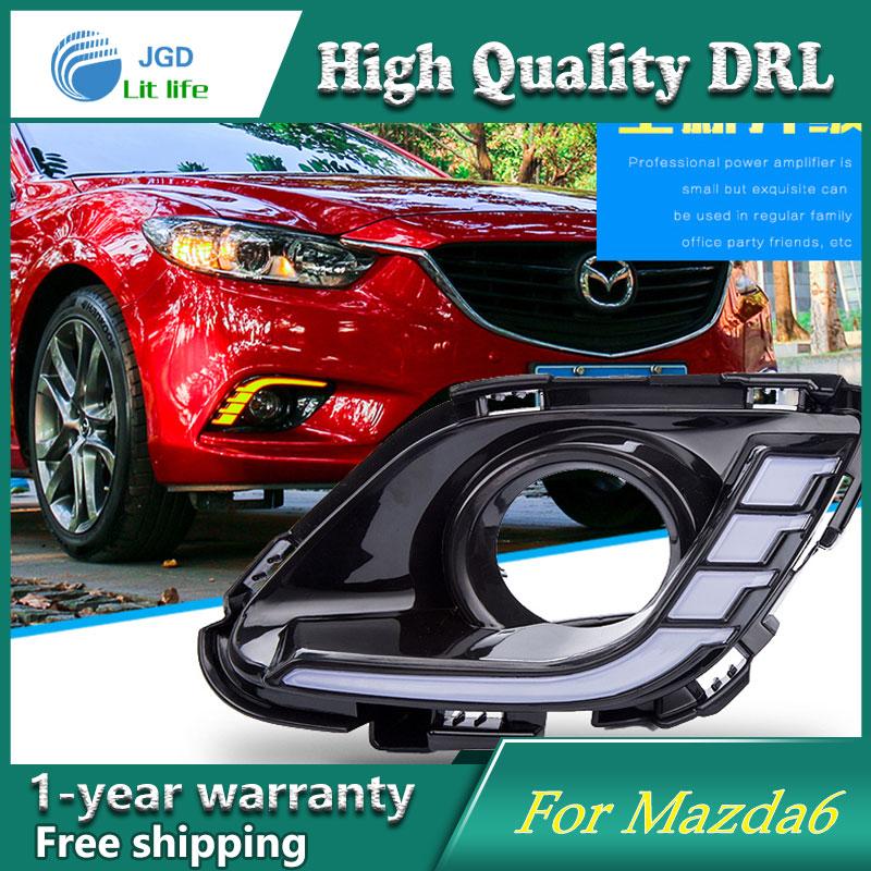 Case For Mazda 6 Mazda6 2016 2017,Yellow Turning Signal Relay Waterproof Car DRL 12V LED Daytime Running Light Fog Lamp Hole