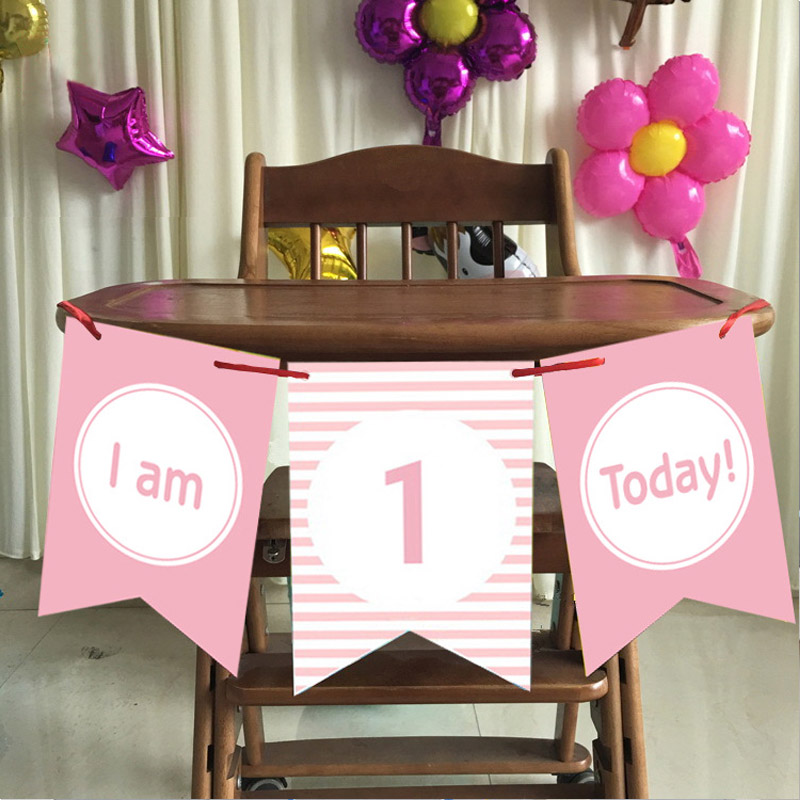 1st Birthday Party Decor Bunting Banner Hanging Flag Wedding Supplies First Year Birthday 3pcs/set Chair Pull Flower Decorating