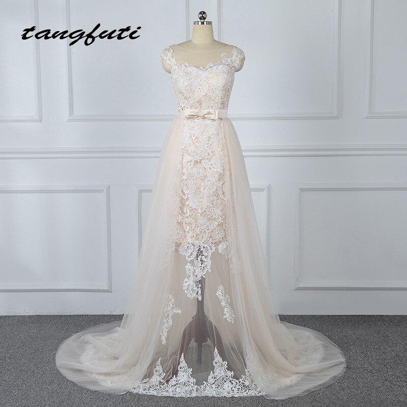 Съемная кружевные свадебные платья со съемной юбкой Тюль Шампанское Свадебные платья свадебные Невеста платье Weddingdress 2018